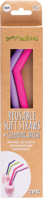 Little Mashies Reusable Soft Silicone Straws - Pink & Purple + Cleaning Brush