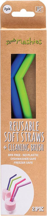 Little Mashies Reusable Soft Silicone Straws - Blue & Green + Cleaning Brush