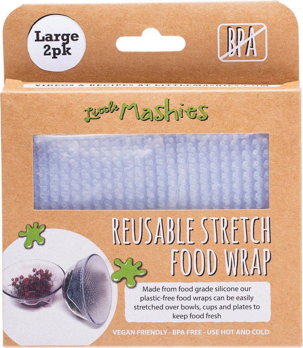 Little Mashies Reusable Stretch Silicone Food Wrap - Pack of 2 - Large 25cm x 25cm