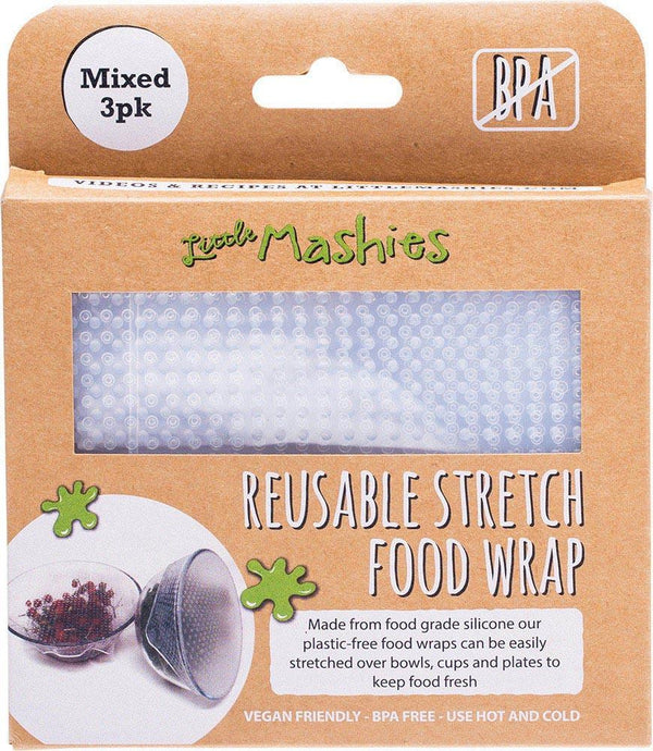 Little Mashies Reusable Stretch Silicone Food Wrap - Pack of 3 - Small Medium & Large