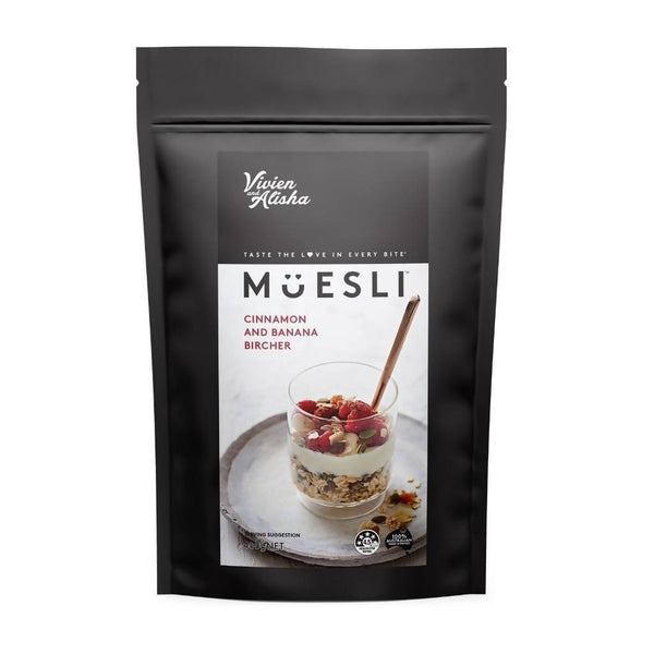Vivien and Alisha Muesli 3 x 400g Packs (Cinnamon and Banana Bircher)