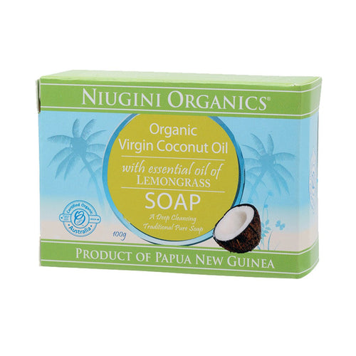 Niugini Organics Soap Coconut Oil - Lemongrass 100g - GoodnessMe