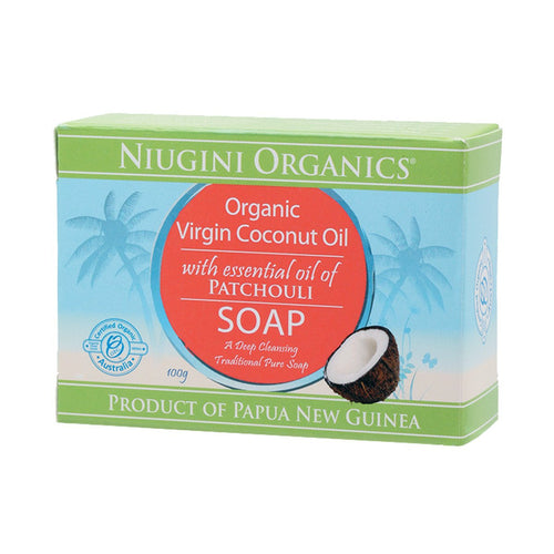 Niugini Organics Soap Coconut Oil - Patchouli 100g - GoodnessMe