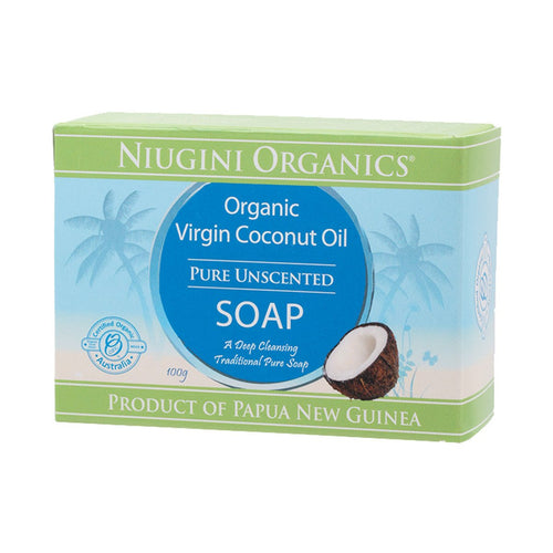 Niugini Organics Soap Coconut Oil - Pure (Unscented) 100g - GoodnessMe