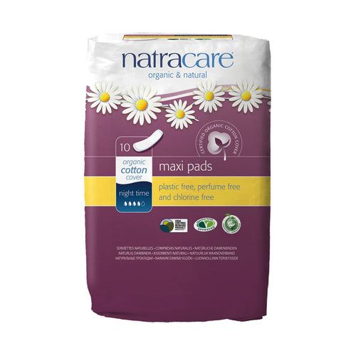 Natracare Maxi Pads Night Time 10 pack - GoodnessMe