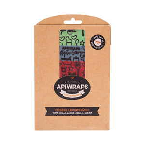 APIWRAPS Reusable Beeswax Wraps Cheese Lovers Pack - 2x small 1x medium