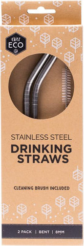 Ever Eco Stainless Steel Straw - Bent 2 Pack + Cleaning Brush - GoodnessMe