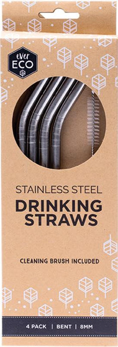 Ever Eco Stainless Steel Straw - Bent 4 Pack + Cleaning Brush - GoodnessMe