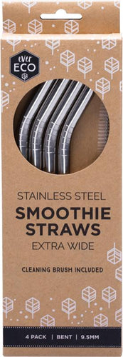 Ever Eco Stainless Steel Smoothie Straws (Extra Wide) - Bent - 4 Pack - GoodnessMe