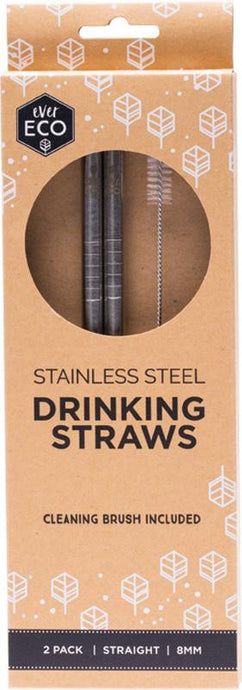 Ever Eco Stainless Steel Straw - Straight 2 Pack + Cleaning Brush - GoodnessMe