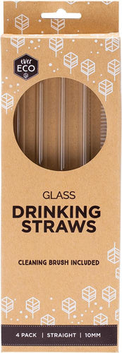 Ever Eco Glass Straws - Straight + Cleaning Brush - 4 Pack - GoodnessMe