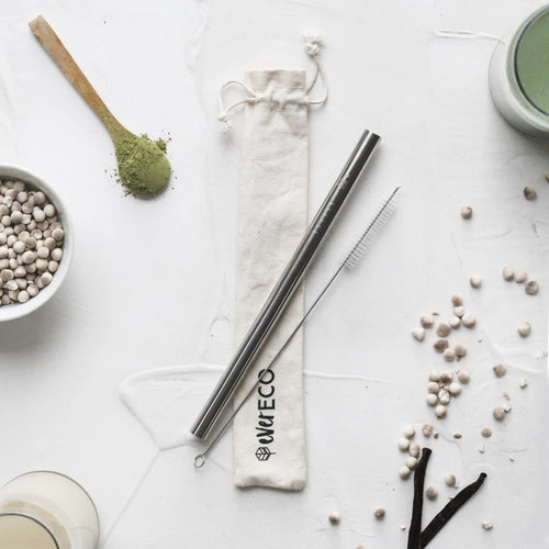 Ever Eco Bubble Tea Straw Kit - Straight Stainless Steel + Cleaning Brush - GoodnessMe