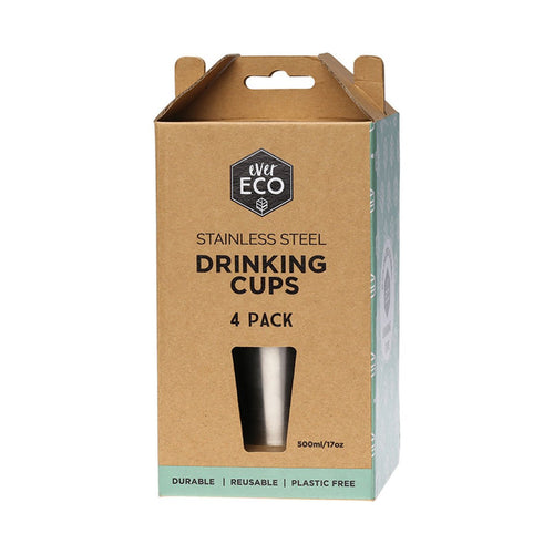 Ever Eco Stainless Steel Drinking Cups 4 Pack (4*500ml) - GoodnessMe
