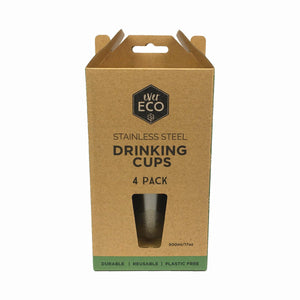 Ever Eco Stainless Steel Drinking Cups 4 Pack (4*500ml)
