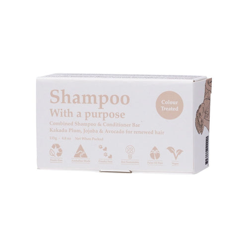 Shampoo With a Purpose Shampoo & Conditioner Bar Colour Treated Hair 135g - GoodnessMe