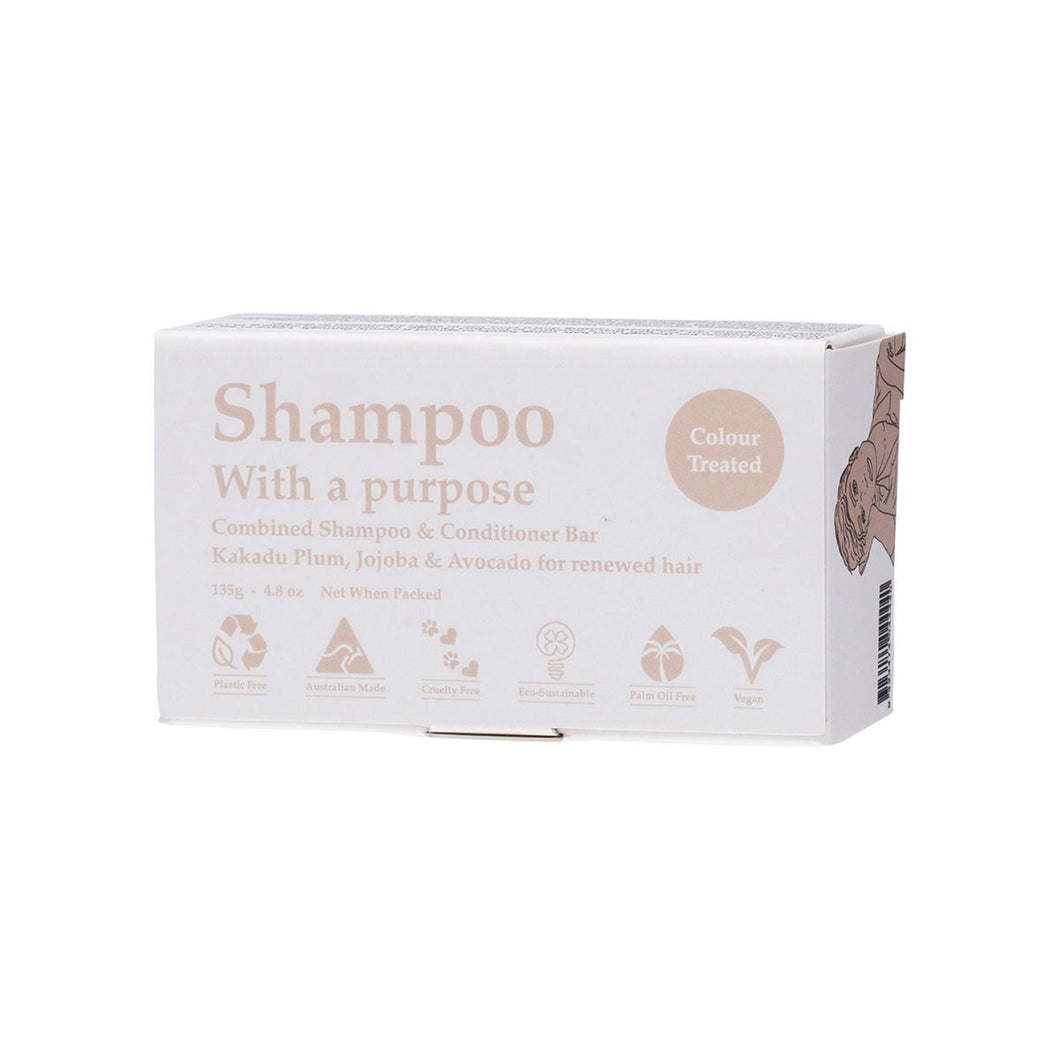 Shampoo With a Purpose Shampoo & Conditioner Bar Colour Treated Hair 135g
