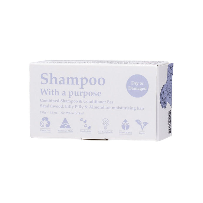 Shampoo With a Purpose Shampoo & Conditioner Bar Dry or Damaged Hair 135g - GoodnessMe