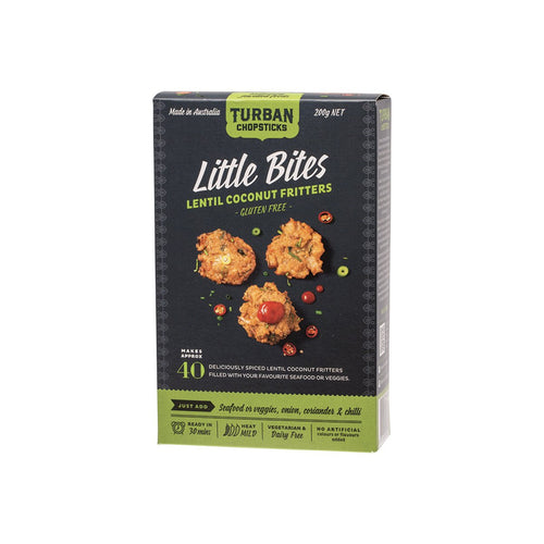 Turban Chopsticks Little Bites Lentil Coconut Fritters 200g - GoodnessMe