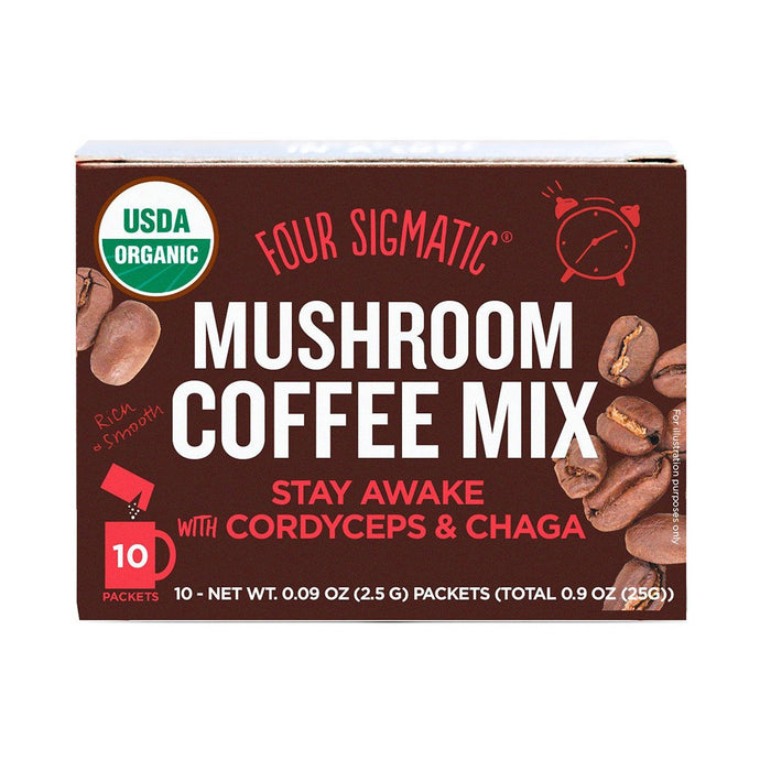 Four Sigmatic Mushroom Coffee Mix Packets with Cordyceps & Chaga (10 x 2.5g) - GoodnessMe