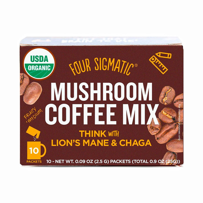 Four Sigmatic Mushroom Coffee Mix Packets with Lion's mane & Chaga (10 x 2.5g) - GoodnessMe