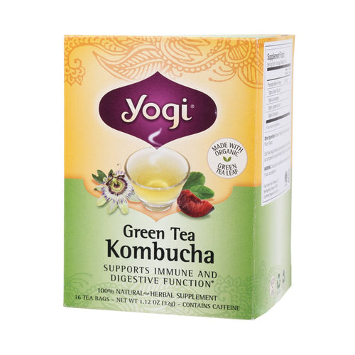 Yogi Tea Herbal Tea Bags Green Tea Kombucha 16 bags - GoodnessMe