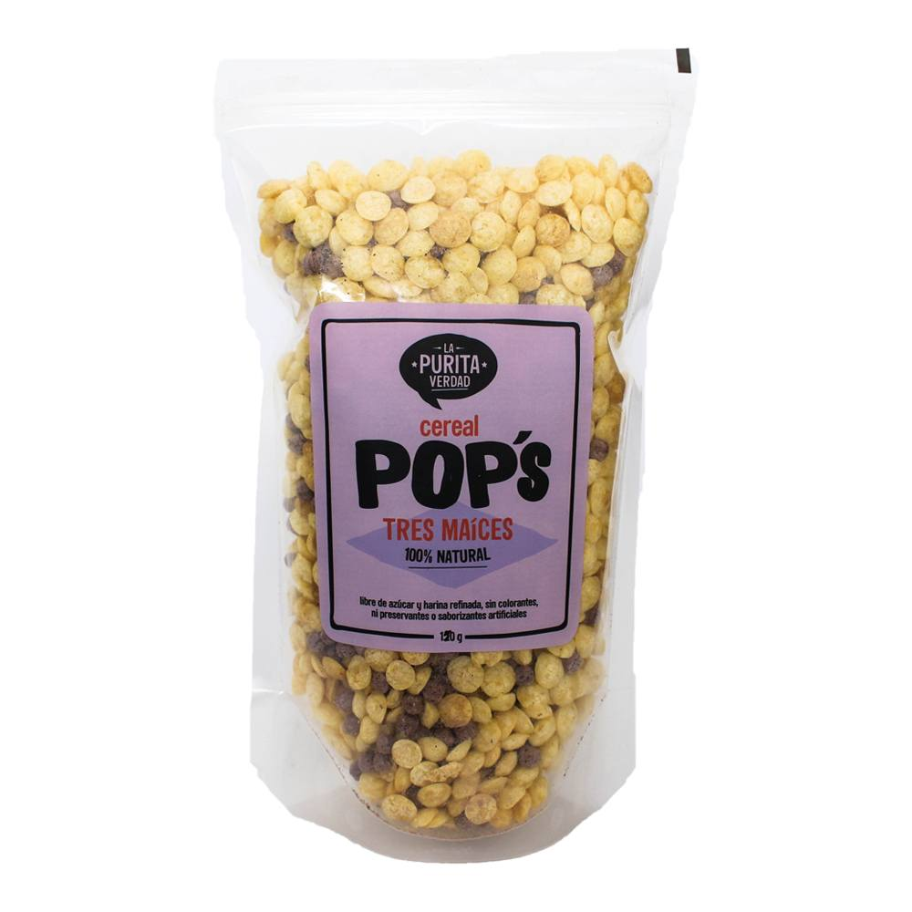 Cereal - POP's De Tres Maices 150 Gr - La Purita Verdad