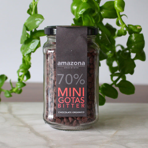 Minigotitas de Chocolate Orgánico 70% de 250 gr - Amazona Chocolate