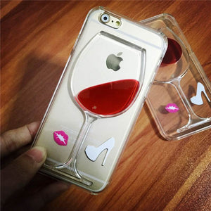 Red Wine Transparent Hard Back Case for iPhone7 and 7 Plus