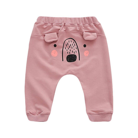 Lovely Bear Nose Pants Baby Girl Trousers