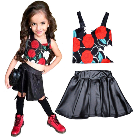 Cute Shirt With Flowers & Skirt Baby Girl Outfit Set