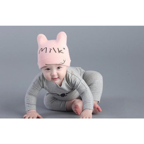 Milk Printed Letters Baby Girl Pink Hat