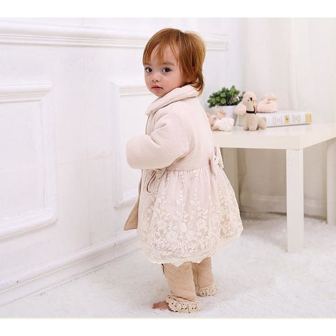 Beige Jacket Baby Girl Lovely Outfit