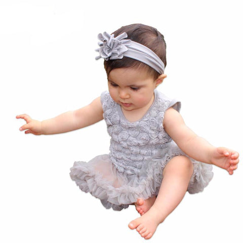 Grey Floral Dress Baby Girl Outfit