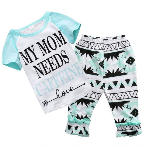 My Mom Needs Caffeine Printed Letters Summer Baby Girl Outfit Set