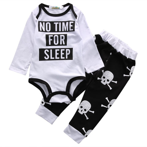 No Time For Sleep Printed Letters Baby Boy Outfit Set
