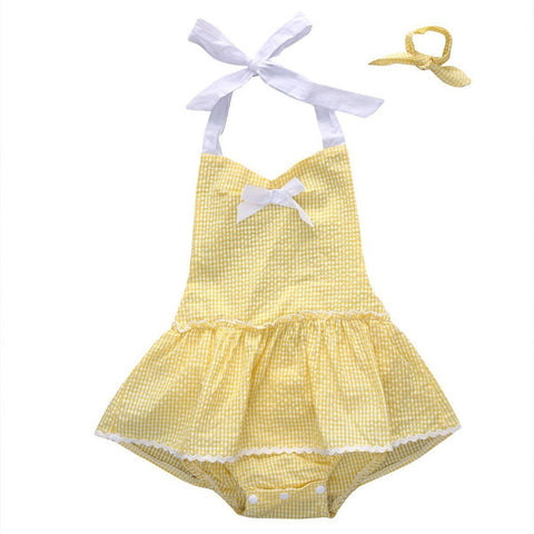 Yellow Skirted Baby Girl Outfit Set