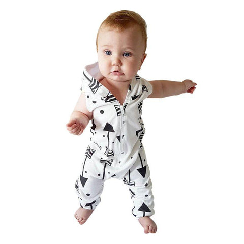 White Outfit Black Arrows Baby Boy Jumpsuit