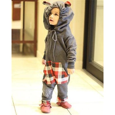 Spring/ Autumn Hooded Baby Jumpsuit