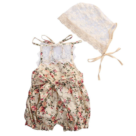 Sweet Floral Jumpsuit & Hat Baby Girl Outfit Set