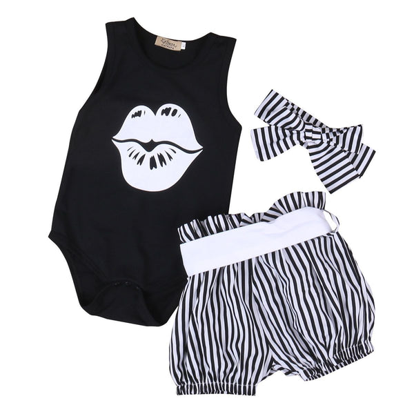 White Kiss Logo Cute Baby Girl Outfit Set