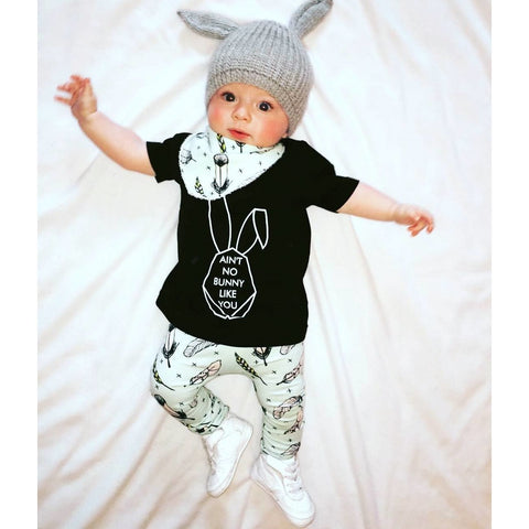 Black Shirt With Bunny Logo Baby Outfit Set