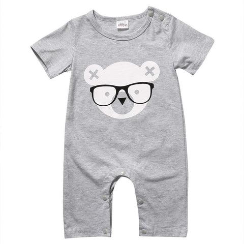 Bear With Glasses Printed Logo Baby Boy Jumpsuit