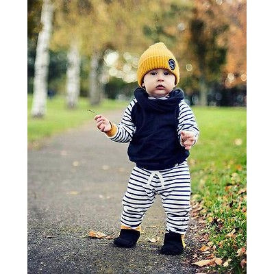Casual Strippes Autumn Baby Boy Outfit Set