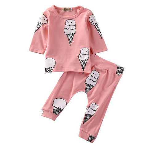 Pink Ice Cream Logo Baby Girl Outfit Set