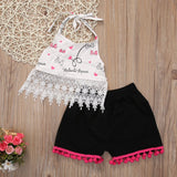 Cute Tassel Shirt With Black Pants Baby Girl Set