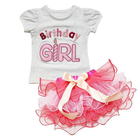 Cute Birthday Girl Printed Letters Baby Dress