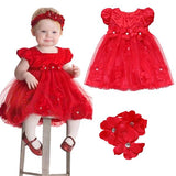 Cute Red Dress Baby Girl Flower Outfit