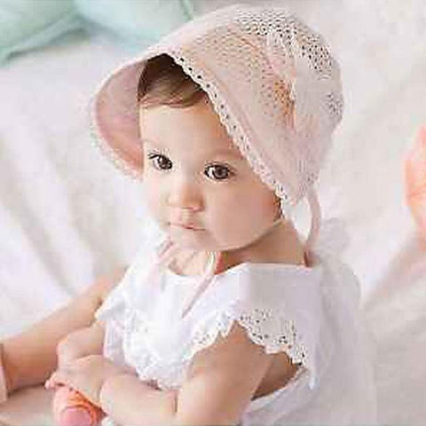 White Bonnet Baby Girl Flower Hat