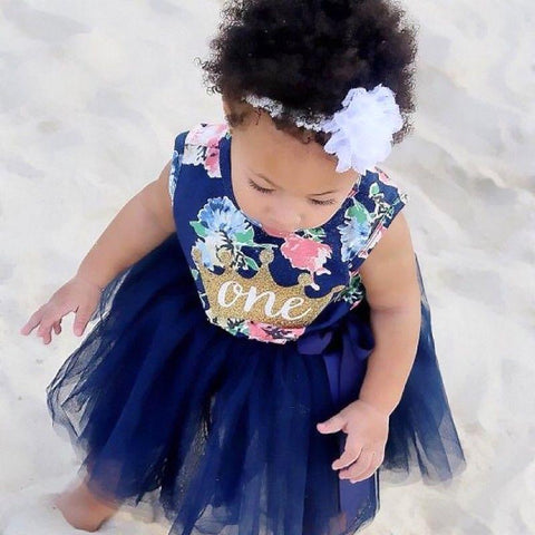 Cute Crown Logo Outfit Baby Girl Lovely Dress