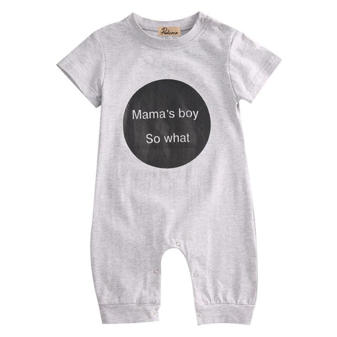Mama's Boy So What Printed Letters Baby Boy Romper